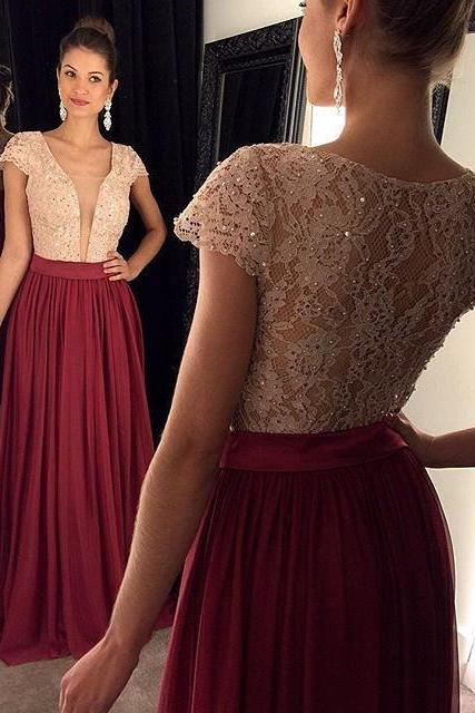 Lace Prom Dress, Maxi Prom Dress,Beaded Prom Dress,Fashion Prom Dress,Sexy Party Dress, New Style Evening Dress