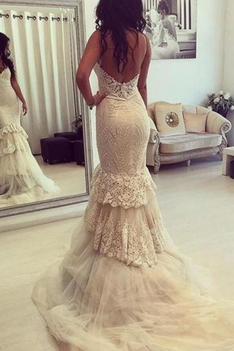 Backless Prom Dress,Lace Prom Dress,Mermaid Prom Dress,Fashion Bridal Dress,Sexy Party Dress, New Style Evening Dress