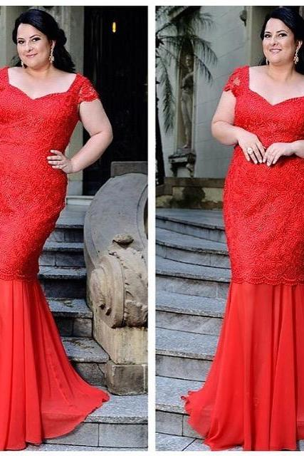 Plus Size Prom Dress,Lace Prom Dress,Mermaid Prom Dress,Fashion Prom Dress,Sexy Party Dress, New Style Evening Dress
