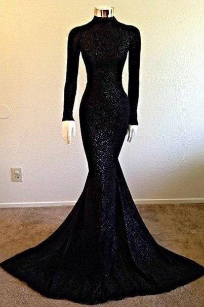 High Collar Prom Dress,Mermaid Prom Dress,Long Sleeve Prom Dress,Fashion Prom Dress,Sexy Party Dress, New Style Evening Dress