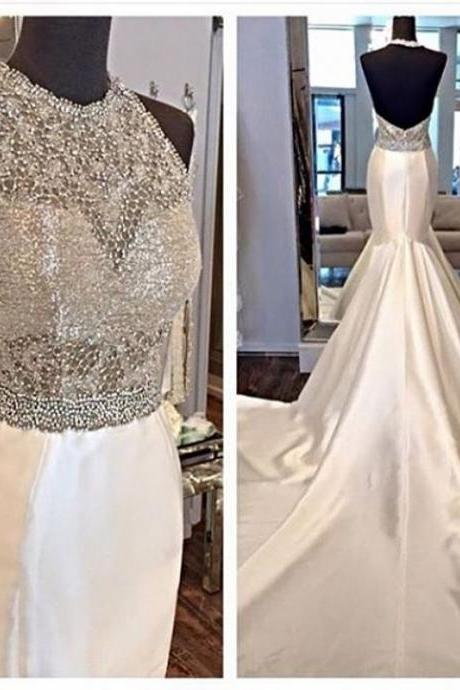 Beaded Prom Dress with Train,Backless Prom Dress,Mermaid Prom Dress,Fashion Prom Dress,Sexy Party Dress, New Style Evening Dress