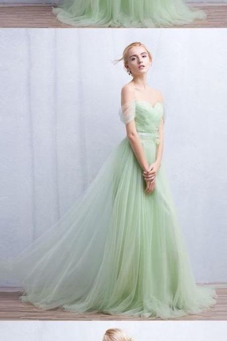 Green Prom Dress,Illusion Prom Dress,Off The Shoulder Prom Dress,Fashion Prom Dress,Sexy Party Dress, New Style Evening Dress