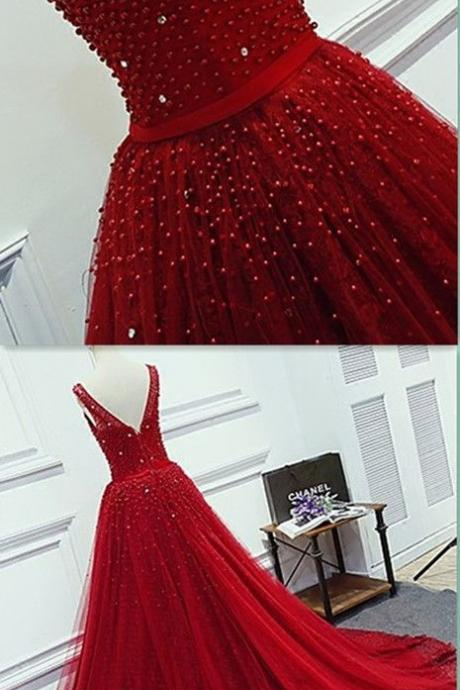 Modest Quinceanera Dress,Red Ball Gown,Beaded Prom Dress,Fashion Prom Dress,Sexy Party Dress, New Style Evening Dress