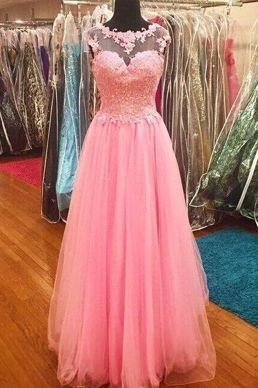 Pink Prom Dress,Bodice Prom Dress,Fashion Prom Dress,Sexy Party Dress,Custom Made Evening Dress