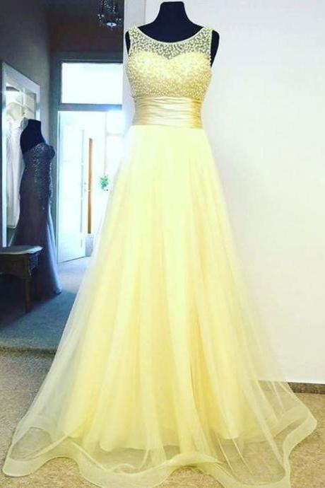 Yellow Prom Dress,Bodice Prom Dress,Fashion Prom Dress,Sexy Party Dress,Custom Made Evening Dress