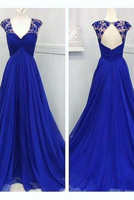 Royal Blue Prom Dress,Backless Prom Dress,Fashion Prom Dress,Sexy Party Dress,Custom Made Evening Dress