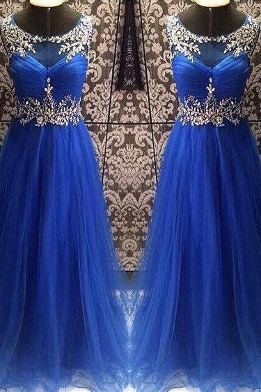 Beaded Prom Dress,Royal Blue Prom Dress,Fashion Prom Dress,Sexy Party Dress,Custom Made Evening Dress