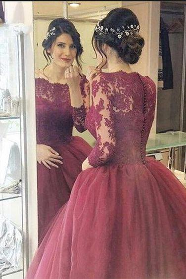 Lace Ball Gown,Long Sleeve Prom Dress,Fashion Bridal Dress,Sexy Party Dress,Custom Made Evening Dress