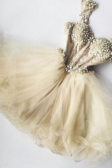 Beaded Prom Dress,Sheer Prom Dress,Fashion Homecoming Dress,Sexy Party Dress,Custom Made Evening Dress