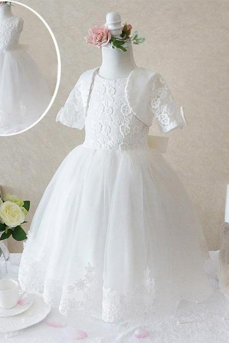 Flower Girl Prom Dress,Lace Prom Dress,Fashion Bridesmaid Dress,Sexy Party Dress, Custom Made Evening Dress