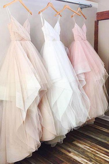 A Line Prom Dress,Tulle Prom Dress,Fashion Prom Dress,Sexy Party Dress,Custom Made Evening Dress