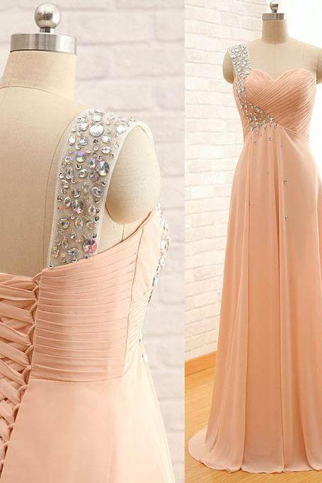 One Shoulder Prom Dress,Beaded Prom Dress,Fashion Prom Dress,Sexy Party Dress,Custom Made Evening Dress