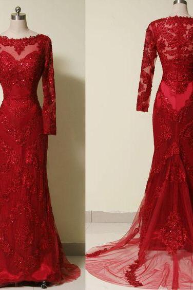 Red Prom Dress,Long Sleeve Prom Dress,Fashion Prom Dress,Sexy Party Dress,Custom Made Evening Dress