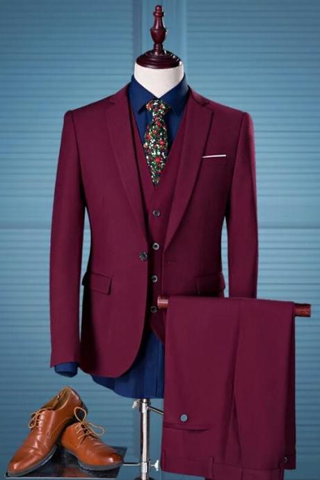Burgundy Men Suiting, New Style Evening Suit