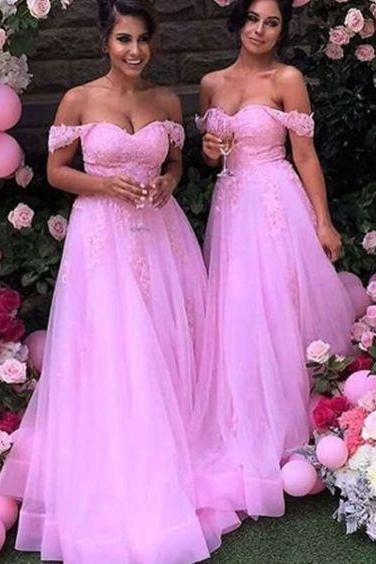 Pink Prom Dress,Lace Prom Dress,Off the Shoulder Prom Dress,Fashion Bridesmaid Dress,Sexy Party Dress, New Style Evening Dress