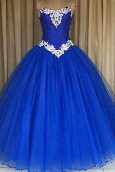 Modest Quinceanera Dress,Royal Blue Ball Gown,Fashion Prom Dress,Sexy Party Dress,Custom Made Evening Dress