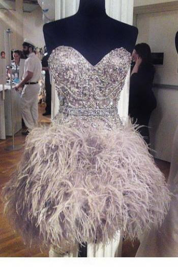 Beaded Prom Dress with Feather,Sweetheart Prom Dress,Fashion Homecoming Dress,Sexy Party Dress,Custom Made Evening Dress