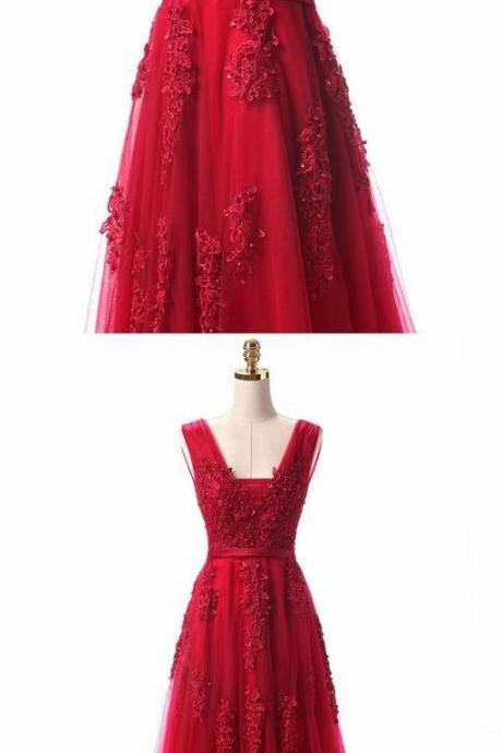 Red Prom Dress,Appique Prom Dress,Fashion Prom Dress,Sexy Party Dress,Custom Made Evening Dress