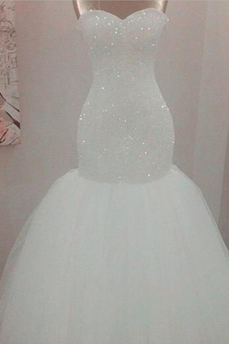 bling bling sequins beaded mermaid wedding dresses