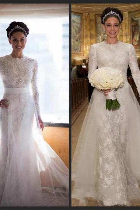 Lace Prom Dress,Long Sleeve Prom Dress,Fashion Bridal Dress,Sexy Party Dress,Custom Made Evening Dress