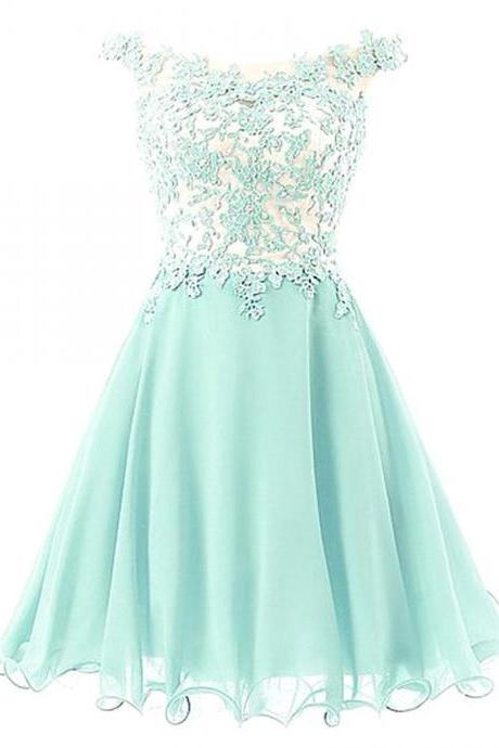 Off-shoulder Applique Mint Green Homecoming Dress with Embellishment,Fashion Homecoming Dress,Sexy Party Dress,Custom Made Evening Dress