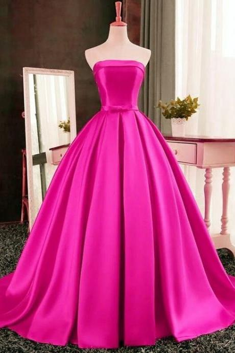 Hot Pink Satin Floor Length Prom Gown Featuring Strapless Straight Across Bodice with Bow,Fashion Prom Dress,Sexy Party Dress,Custom Made Evening Dress