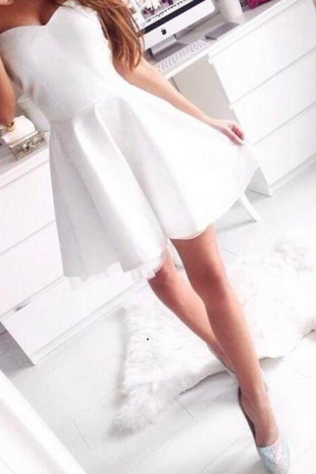 Simple White Prom Dress,Sweetheart Prom Dress,Fashion Homecoming Dress,Sexy Party Dress,Custom Made Evening Dress