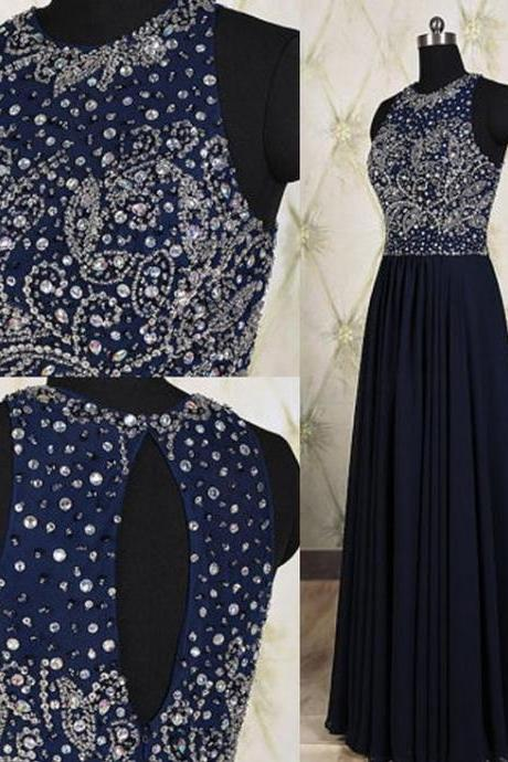 Navy Blue Prom Dress,Beaded Prom Dress,Fashion Prom Dress,Sexy Party Dress,Custom Made Evening Dress