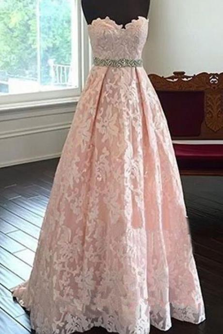 Pink Prom Dress,Sweetheart Lace Prom Dress,Fashion Prom Dress,Sexy Party Dress,Custom Made Evening Dress