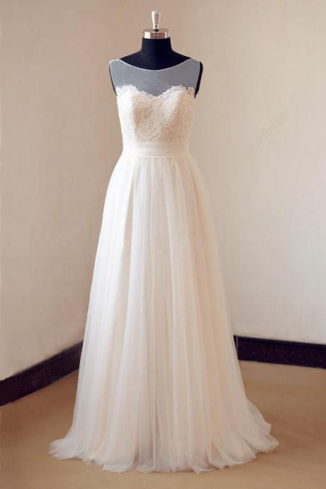 Illusion Neckline Lace Appliques Ivory Tulle Beach Wedding Dress