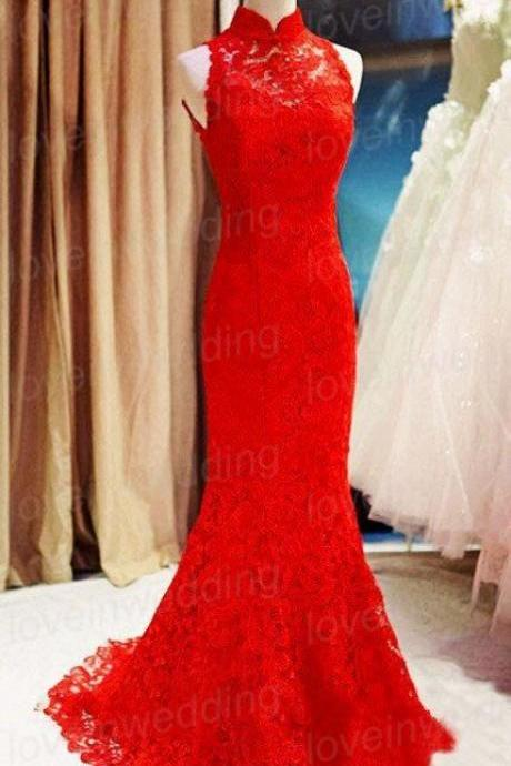 Red Lace Prom Dress,Mermaid Prom Dress,Fashion Prom Dress,Sexy Party Dress,Custom Made Evening Dress
