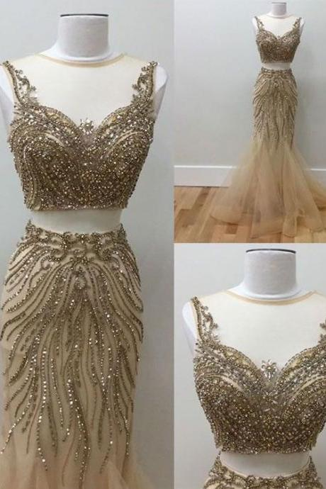 Gold beads two pieces prom dress, tulle evening dress,Fashion Prom Dress,Sexy Party Dress,Custom Made Evening Dress