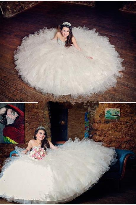 Beaded Ball Gown, Sweetheart Prom Dress,Fashion Bridal Dress,Sexy Party Dress,Custom Made Evening Dress