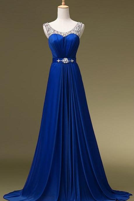 Royal Blue Prom Dress,Beaded Prom Dress,Fashion Prom Dress,Sexy Party Dress,Custom Made Evening Dress