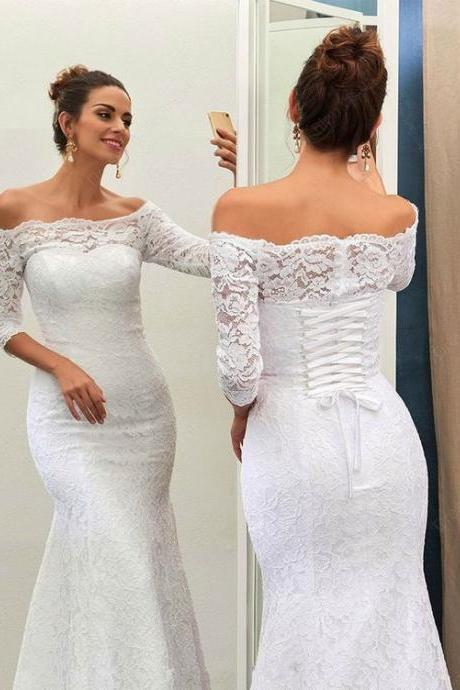 Lace Long Sleeve Prom Dress,Fashion Bridal Dress,Sexy Party Dress,Custom Made Evening Dress