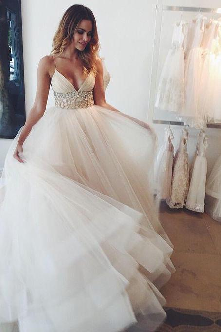 Beaded Ball Gown,Tulle Prom Dress,Fashion Bridal Dress,Sexy Party Dress,Custom Made Evening Dress