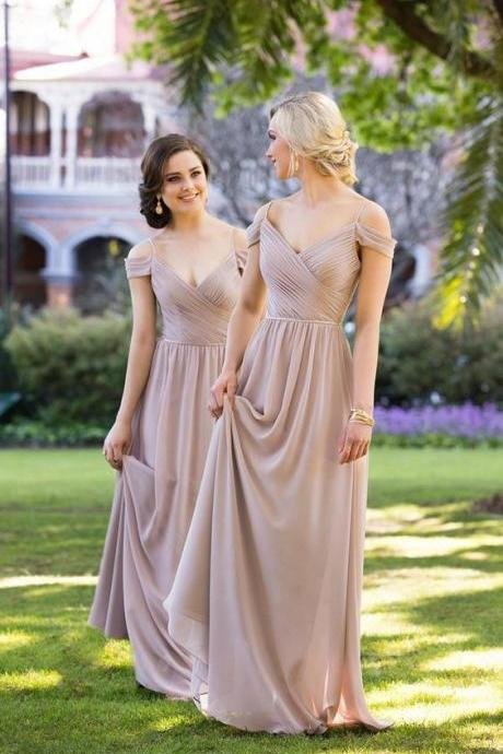 Off the Shoulder Pleated Prom Dress,Long Prom Dress,Fashion Bridesmaid Dress,Sexy Party Dress, New Style Evening Dress