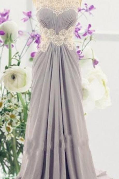 Grey Prom Dress,Lace Prom Dress,Fashion Prom Dress,Sexy Party Dress,Custom Made Evening Dress