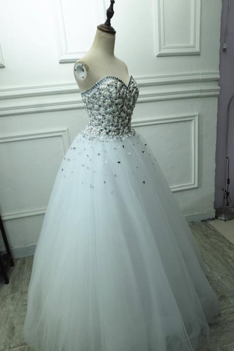 Elegant Crystal And Pearl Beaded Sweetheart Ball Gowns Wedding Dress