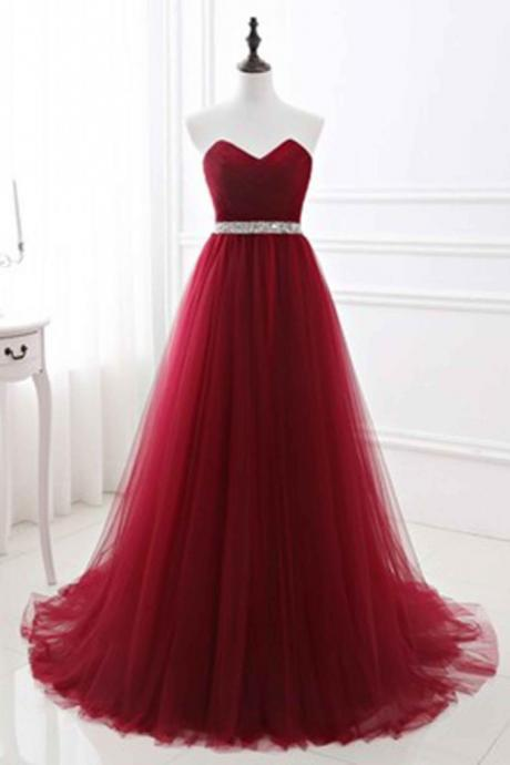 Red tulle sweetheart A-line prom dress,Fashion Prom Dress,Sexy Party Dress,Custom Made Evening Dress