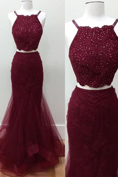 Crimson tulle two pieces sequins long dress,Fashion Prom Dress,Sexy Party Dress,Custom Made Evening Dress