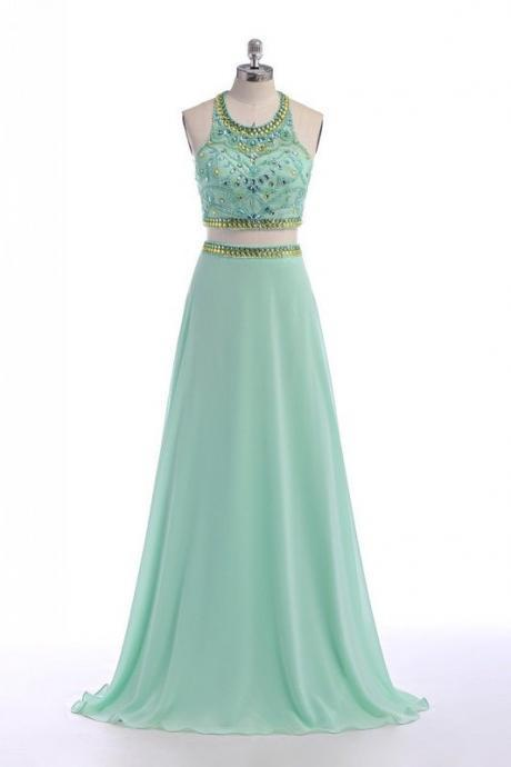 Light green chiffon cross back beading rhinestone evening dresses,Fashion Prom Dress,Sexy Party Dress,Custom Made Evening Dress