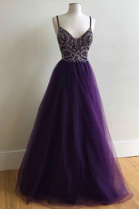 v-neck A-line long prom dress with straps,Fashion Prom Dress,Sexy Party Dress,Custom Made Evening Dress