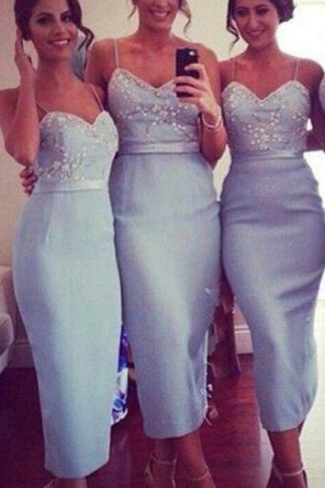 Tea Length Bridesmaid Dress,Blue Bridesmaid Dress,Fashion Bridesmaid Dress,Sexy Party Dress, New Style Evening Dress