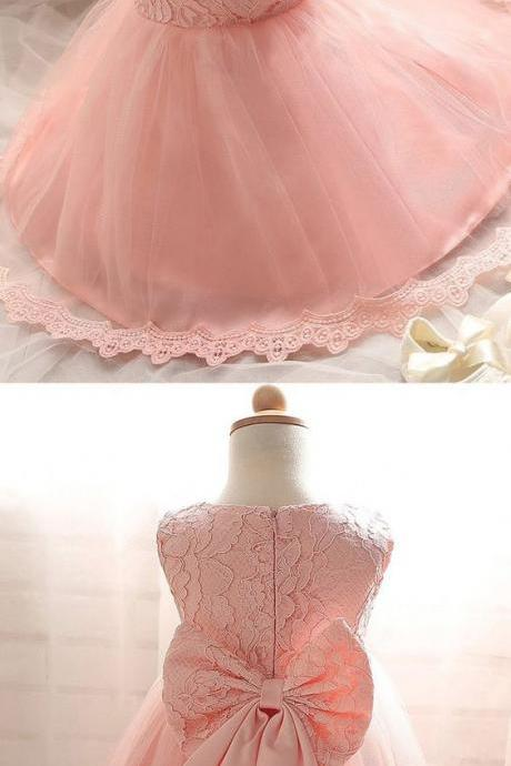 Cute Jewel Sleeveless Short Pink Lace Flower Girl Dress with Bowknot,Fashion Bridesmaid Dress, Custom Made Evening Dress