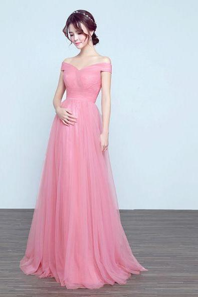 A Line Off Shoulder Pink Prom Dress,Fashion Prom Dress,Sexy Party Dress,Custom Made Evening Dress