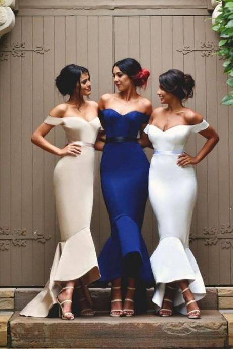 Sexy Women's Mermaid Off-the-Shoulder Prom Dress,Fashion Bridesmaid Dress,Sexy Party Dress, New Style Evening Dress