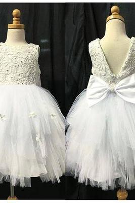 Lace Bodice White Tulle Skirt Flower Girl Dresses,Fashion Bridesmaid Dress, Custom Made Evening Dress