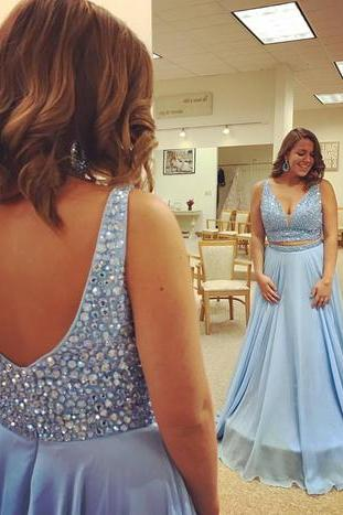 Sky Blue Chiffon Beaded V-neck Prom Dresses,Fashion Prom Dress,Sexy Party Dress,Custom Made Evening Dress