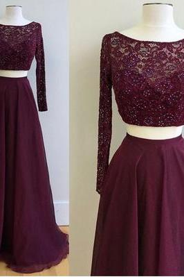 Lace Top Two Pieces Prom Dresses,Long Sleeves Grape Prom Dresses,Fashion Prom Dress,Sexy Party Dress,Custom Made Evening Dress